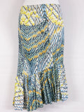 NEW! JUST CAVALLI Women Multicolor Print Ruffles Fitted Mermaid Skirt Size 38