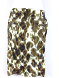 NEW! JUST CAVALLI Women Exotic Print Gold Stitch Jeans Denim Skirt Size 38