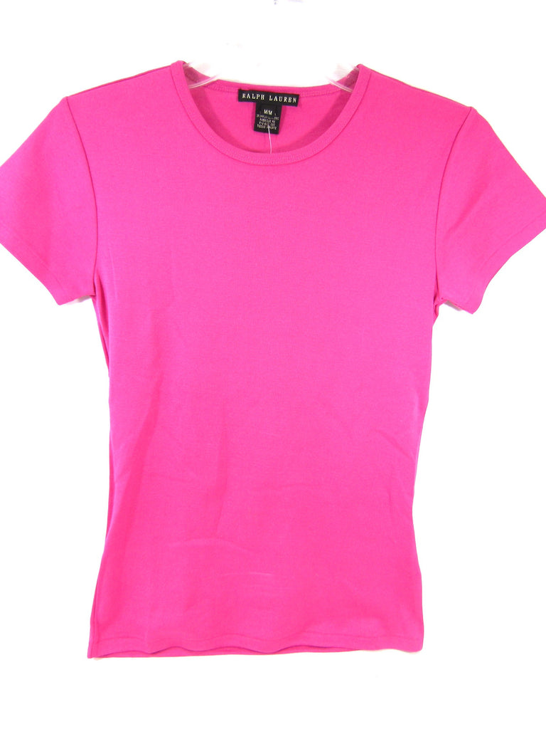 RALPH LAUREN Women Pink Short Sleeve Top Shirt Size M