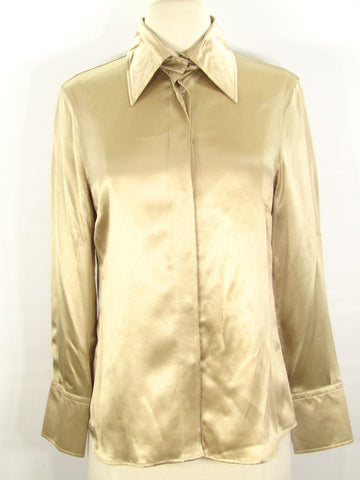 NEW! ESCADA SPORT Women Beige Gold Satin Button Down Blouse Top Shirt 38