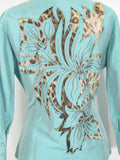 ROBERTO CAVALLI Women Blue Animal Print Silk Button Down Blouse Top Shirt 8