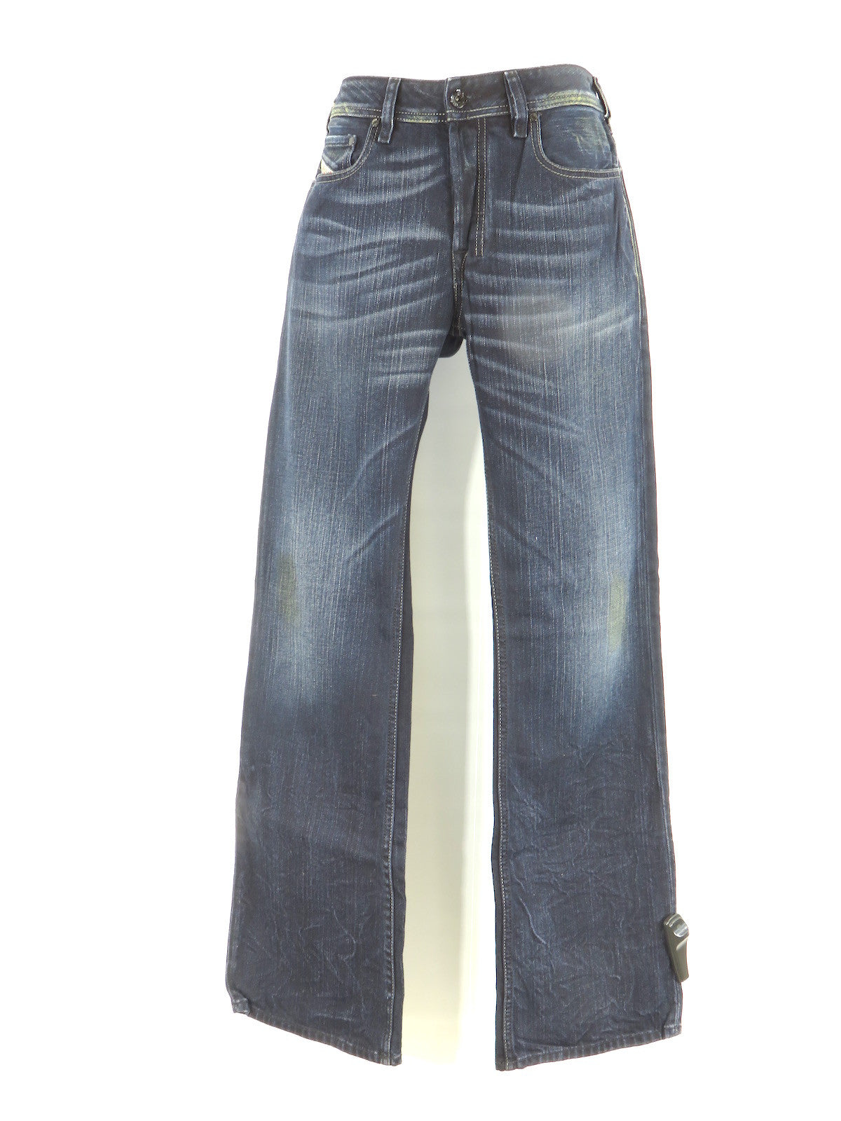 9a60e934 DIESEL Men Dark Wash Leather Accent ZATINY Straight Leg Pants Jeans 29