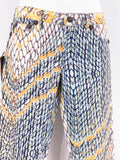 NEW! JUST CAVALLI Women Multicolor Serpent Print Straight Leg Pants Jeans Size 29