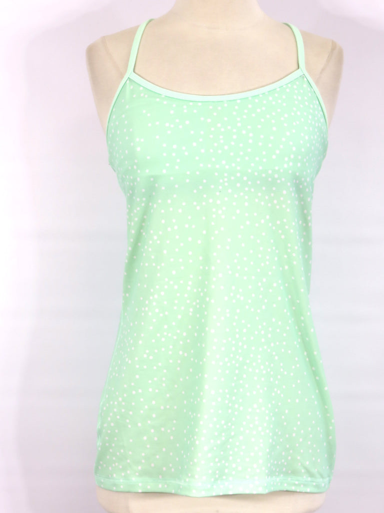 LULULEMON ATHLETICA Women Green Polka Dot Racer Back Strap Tank Top Shirt 8