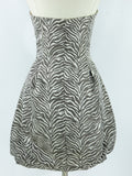 JESSICA MCCLINTOCK Women Black White Print Bubble Strapless Dress Size 10