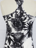 LULULEMON ATHLETICA Women White Black Flowers Sleeveless Sports Top Size 6 8