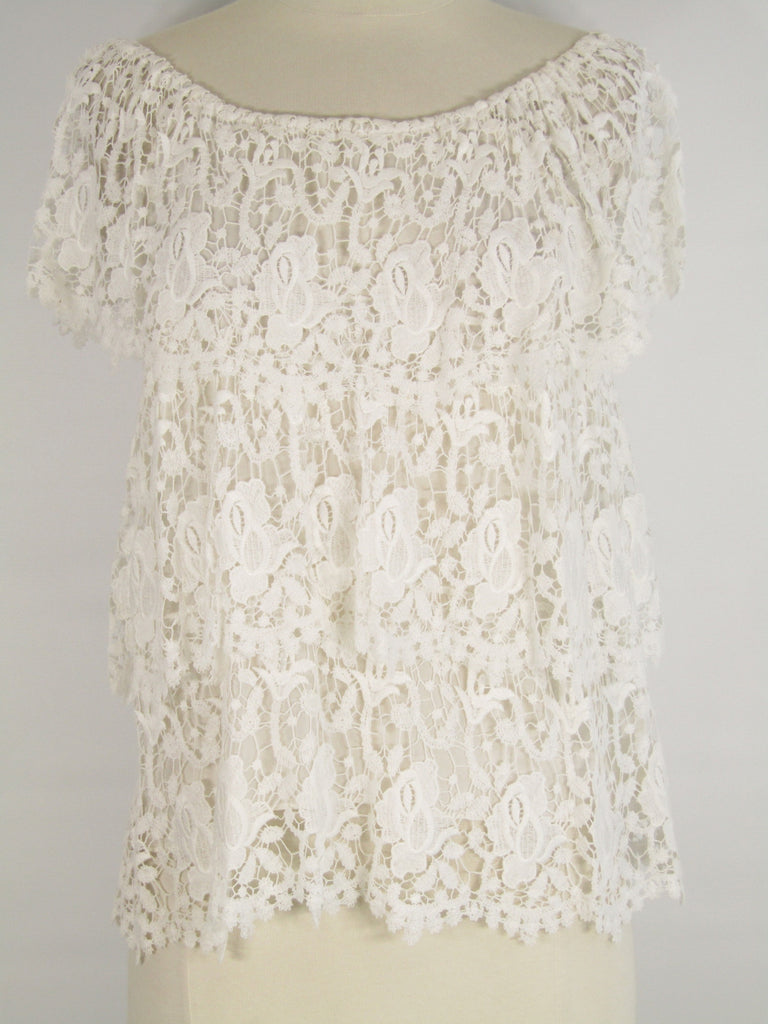 MIGUELINA Women White Lace Layered Top Blouse Shirt Size M