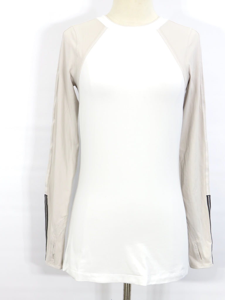 LULULEMON ATHLETICA Women White Taupe Long Sleeve Athletic Sportswear Shirt Top 6