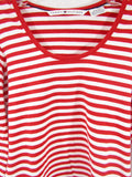 TOMMY HILFIGER Women Red White Stripes Top T Shirt Size S
