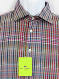 NEW! ETRO MILANO Men Blue Red Multi Color Long Sleeve Button Down Shirt 41