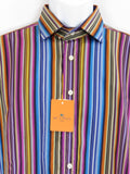 NEW! ETRO MILANO Men Blue Yellow Purple Multi Color Long Sleeve Button Down Shirt 41