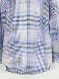 ETRO MILANO Men Multi Color Check Plaid Linen Blend  Long Sleeve Button Down Shirt 42
