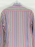 ETRO MILANO Men Multi Color Check Plaid Pattern Long Sleeve Button Down Shirt Size 43