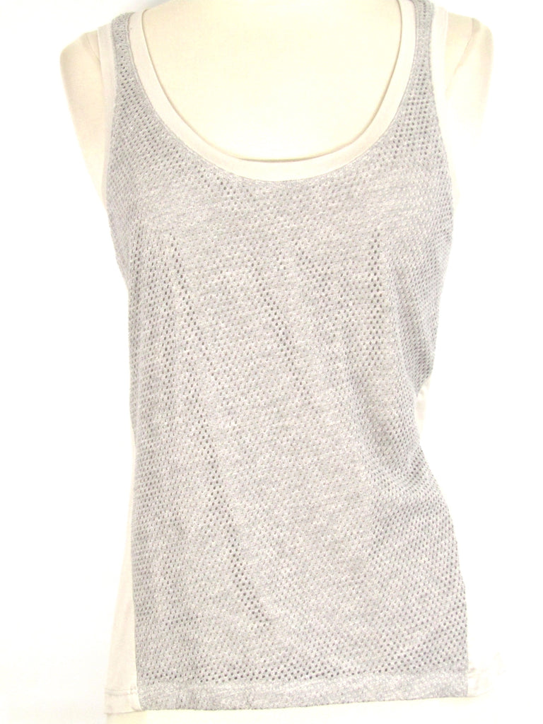 FEEL THE PIECE Women Gray White Sleeveless Tank Top Shirt Size XS S