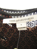 DIANE VON FURSTENBERG Women Black Lace A Line Dress Size S
