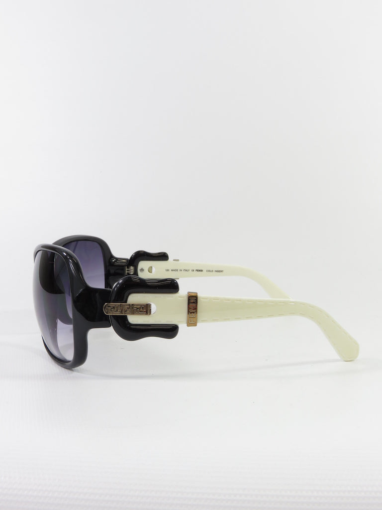 b691f1ddcbf7 FENDI Women Black Off White Iconic Buckle Oversized Square Sunglasses ...