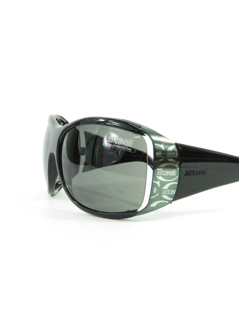 466c7eea0a6 JUST CAVALLI Unisex Black Silver Green Logo Wrap Around Full Rim Sunglasses  ...