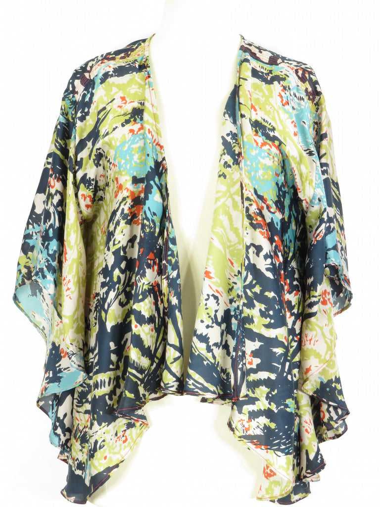 MULTICOLOR Women Multi Color Open Front Blouse Cover Up Shirt Top XS S
