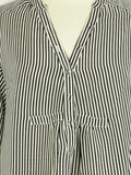 Women Black White Stripes V-Neck 3/4 Sleeves Blouse Top Tunic Shirt S