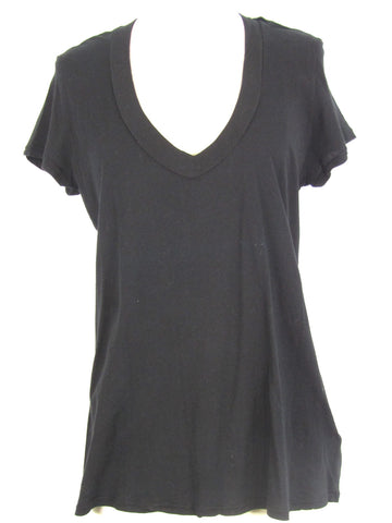 JAMES PERSE Women Black Short Sleeve Top T Shirt Size 4
