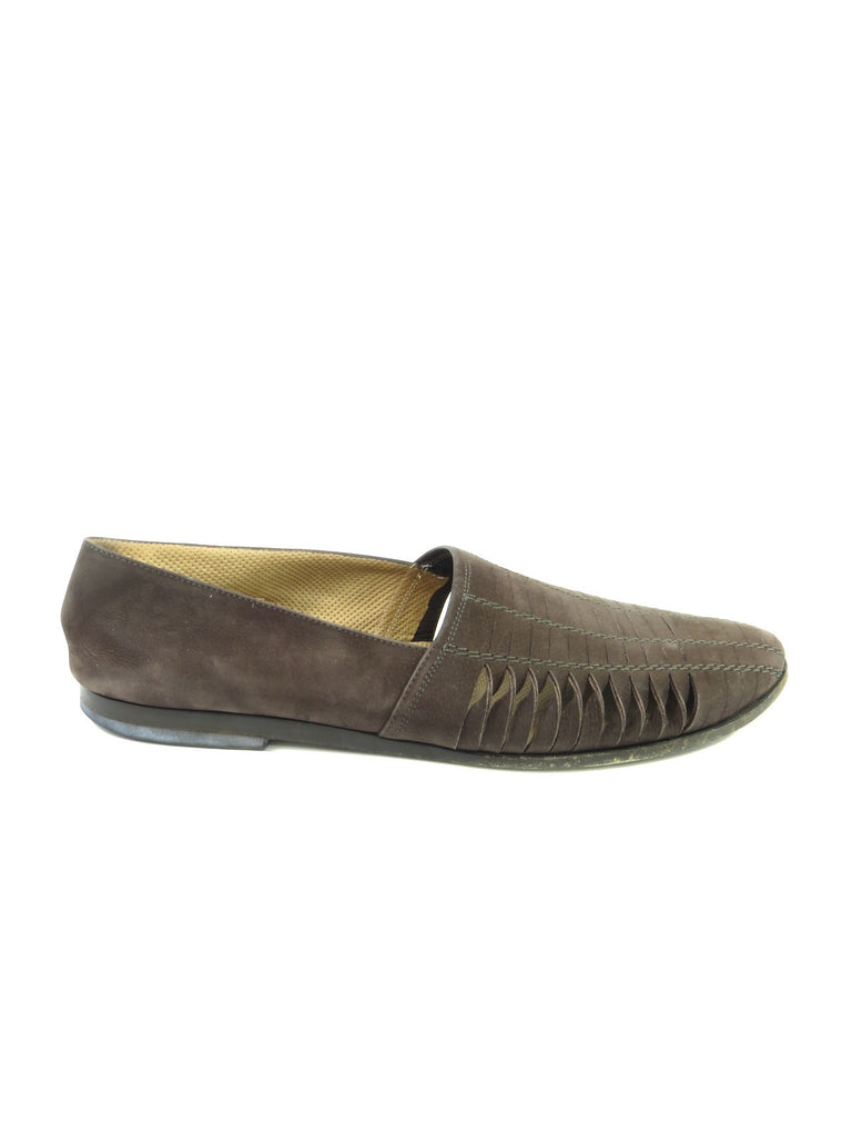 GIORGIO ARMANI Men Brown Suede Ribbed Moccasin Loafers Slip On Shoes Size 44.5