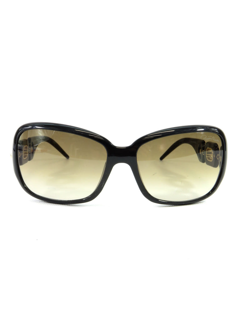 NEW! ROBERTO CAVALLI Women Black Gold Links Full Rim Calla Square Sunglasses