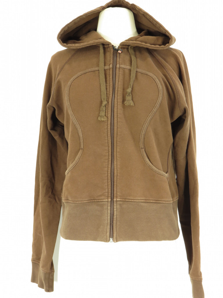 LULULEMON ATHLETICA Women Brown Hoodie Zipper Zip Up Jacket Sweatshirt Size 10