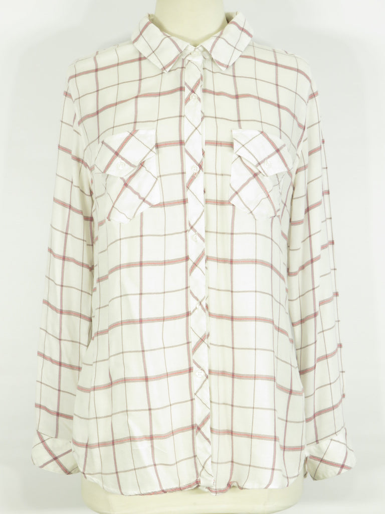 RAILS Women Pink Red Brown Off White Plaids Checks Long Sleeve Button Down Shirt M