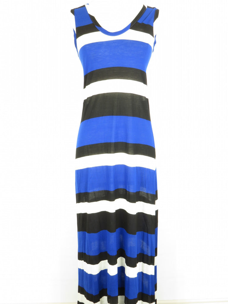 ENZA COSTA Women Sleeveless Blue White Black Stripes Maxi Summer Dress M