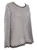 GENERATION LOVE Women Black Silver Scales Pattern Sweater Top Shirt Size M/L
