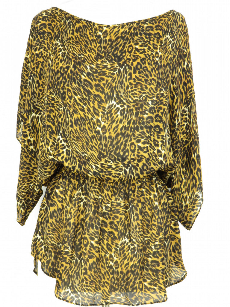 PARKER Women Multi Color Silk Animal Print Blouson Mini Dress Tunic S
