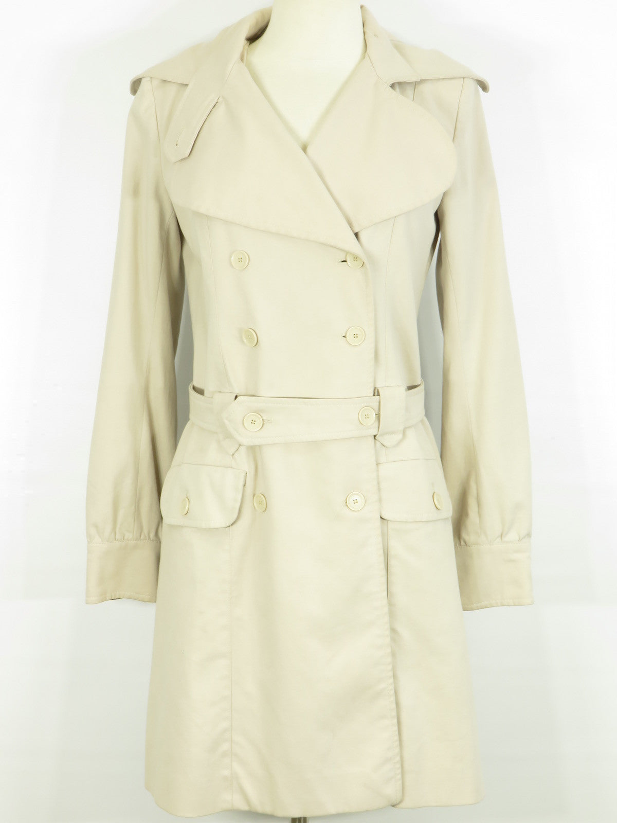 finest selection eeb61 405c0 PATRIZIA PEPE FIRENZE Women Beige Double Breasted Trench Coat 42