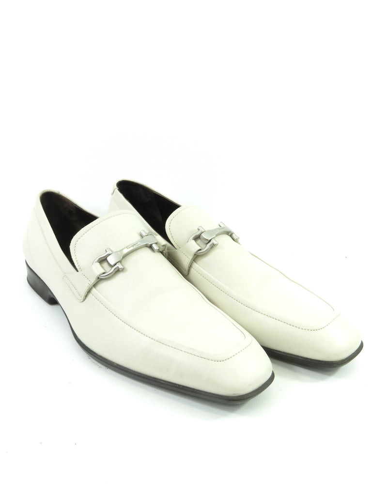 4b6a139fbce Salvatore Ferragamo Lorena s Worth · SALVATORE FERRAGAMO Men Off White  Leather Silver Buckle Moccasins Loafers Shoes 9 ...