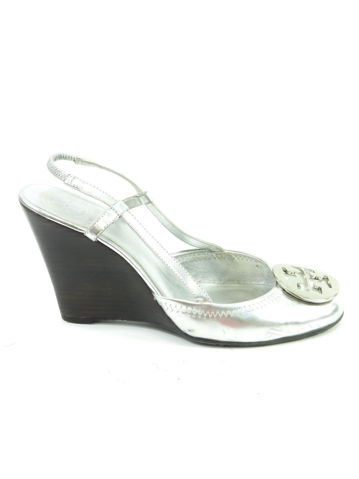 c3bdafda06462c TORY BURCH Women Silver Leather LOGO Wedge Slingback Pumps Shoes 8