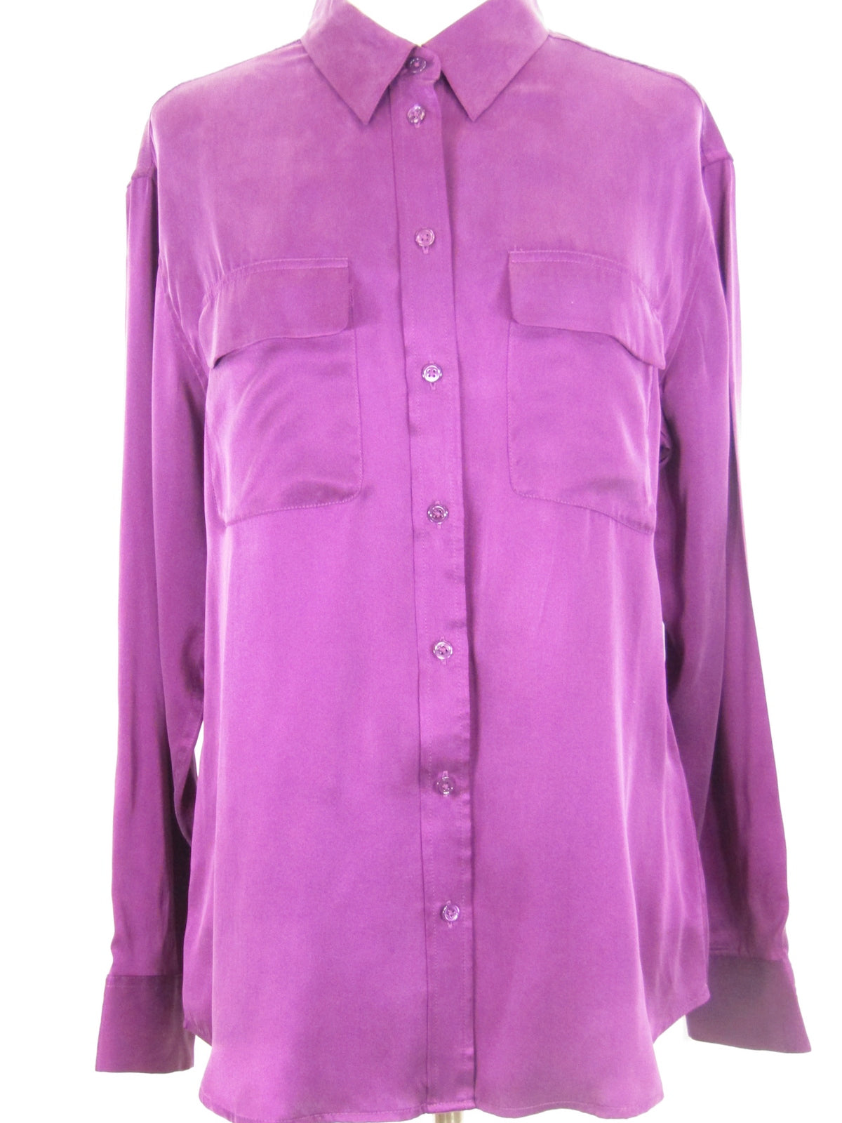 f392087535efd2 EQUIPMENT FEMME Women Silk Magenta Button Down Blouse Top Shirt Size M