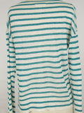 NILI LOTAN Women White Aqua Stripes Knit Light Sweater Top Shirt Size XS