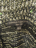 GENERATION LOVE Women Black Gold Knit Loose Mock Sweater Top Size XS