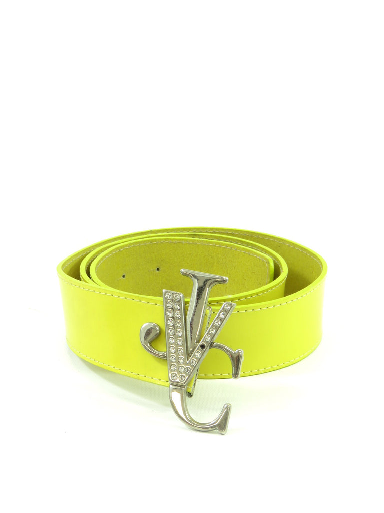 NEW! VERSACE JEANS COUTURE Women Yellow Crystals Logo Buckle Belt Size 90