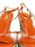 NEW! LE SILLA Women Orange Multicolor Crystals Leather Vinyl Wedges Shoes Sandals 40