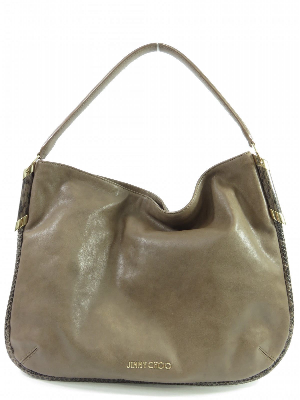 JIMMY CHOO ZOE Mink Brown Leather Hobo Snakeskin Trim Purse Bag Shopper f8206694a8d34