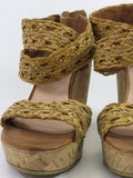 STUART WEITZMAN Women Brown Braided Strap Cork Platform Wedge Sandals Shoes