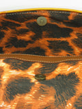 NEW! CAVALLI Black Brown Orange Animal Print Canvas Leatehr Shoulder Bag Purse Clutch