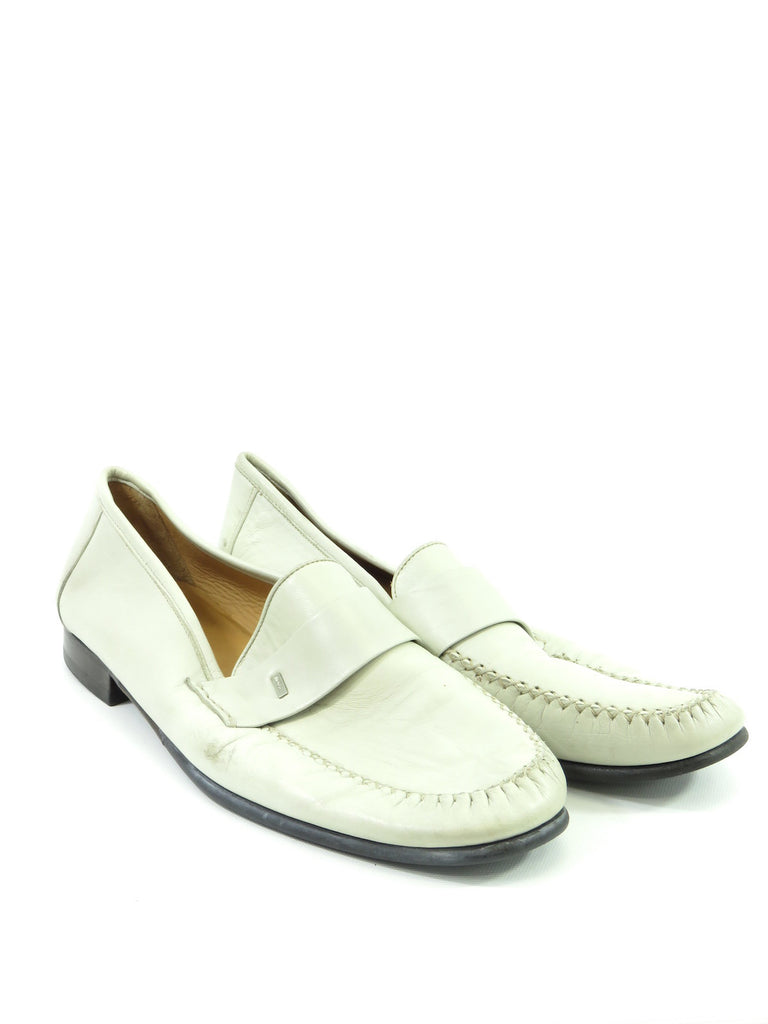 98497de9413 Bally Lorena s Worth · BALLY Men Off White Leather Classic Moccasins Loafers  Slip On Shoes Size 11 ...