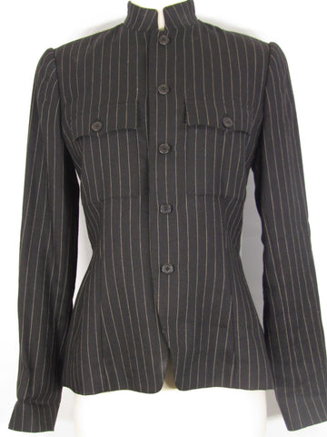 RALPH LAUREN PURPLE LABEL Women Black Beige Pin Stripe Button Down Jacket Top 8
