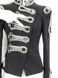 NEW! JOVANI Women Dark Gray Denim Jean Embellished Jewels Crystals Michael Jackson Jacket 2