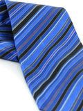 STEFANO RICCI Men Blue Black Gray White Purple Stripes Silk Neck Tie Accessory