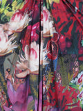 NEW! ISSA Women Multi Color Pink Red Purple Floral Print Ruched Center V Plunge Dress 4