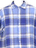 RALPH LAUREN PURPLE LABEL Men Blue Linen Plaid Button Down Shirt Size L