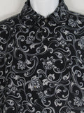 VERSACE Men Black Gray Paisley Print Button Down Short Sleeve Shirt Size XL