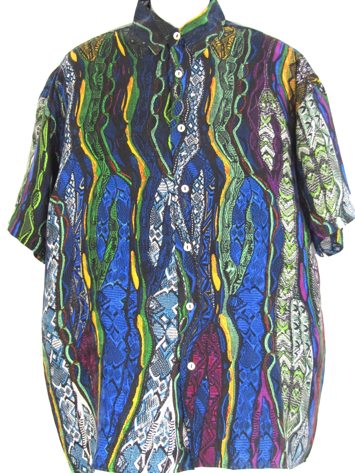 COOGI Men Silk Multi Color Snake Print Button Down Shirt Size L